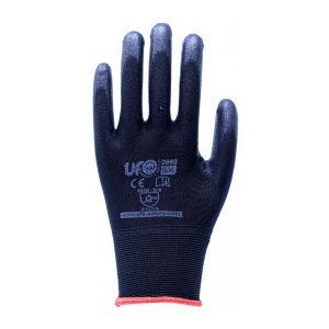 Nahtlose Schwarze Nylon-Handschuhe, aus schwarzer Polyrethanbeschichtung. EN388:2016 1KF=12Paar