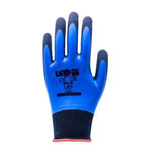 Blaue Nylon-Handschuhe, nahtlos, mit doppelter Latexbeschichtung UFO EN388:2016.