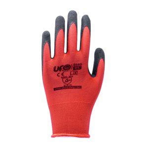 Rote Nylon-Handschuhe ohne Nähte mit Latex-Sandbeschichtung UFO EN388:2016 12Paar