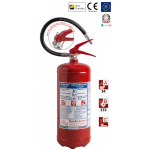 Tragbarer Pulverfeuerlöscher 6 kg 34A – 233BC nach UNI EN 3-7