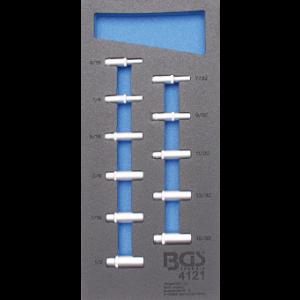 """Werkstattwageneinlage 1/3: Steckschlüssel-Einsätze Sechskant 6,3 mm (1/4"""") in Zollgrößen tief 11-tlg."""