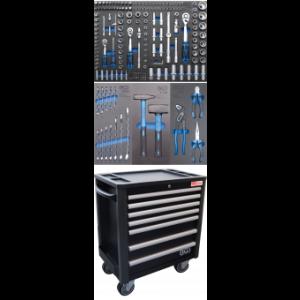 Werkstattwagen 7 Schubladen extra geringe Bauhöhe mit 209 Werkzeugen