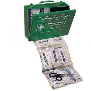 Grüner Verbandkasten groß mit Stahlblech nach DIN 13 169-E mit Halterung